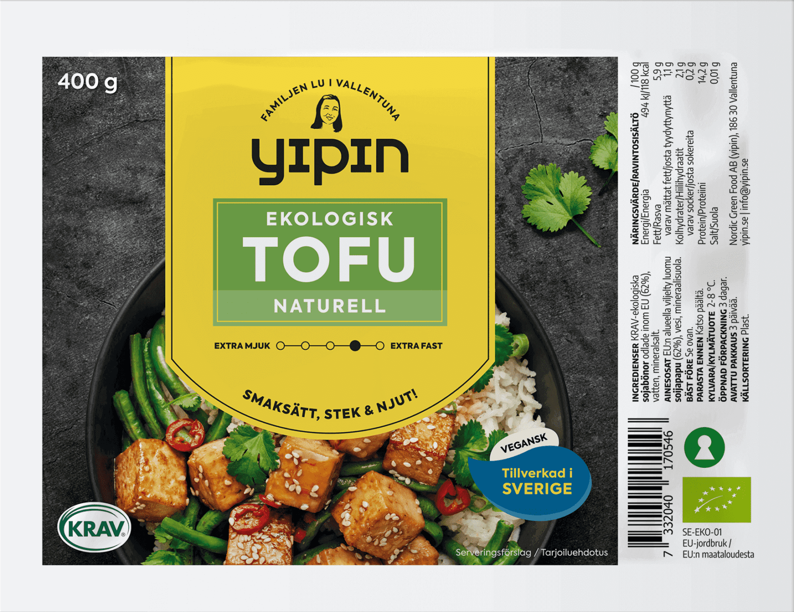 Bilden visar Yipin fast tofu naturell (400 g), ekologisk