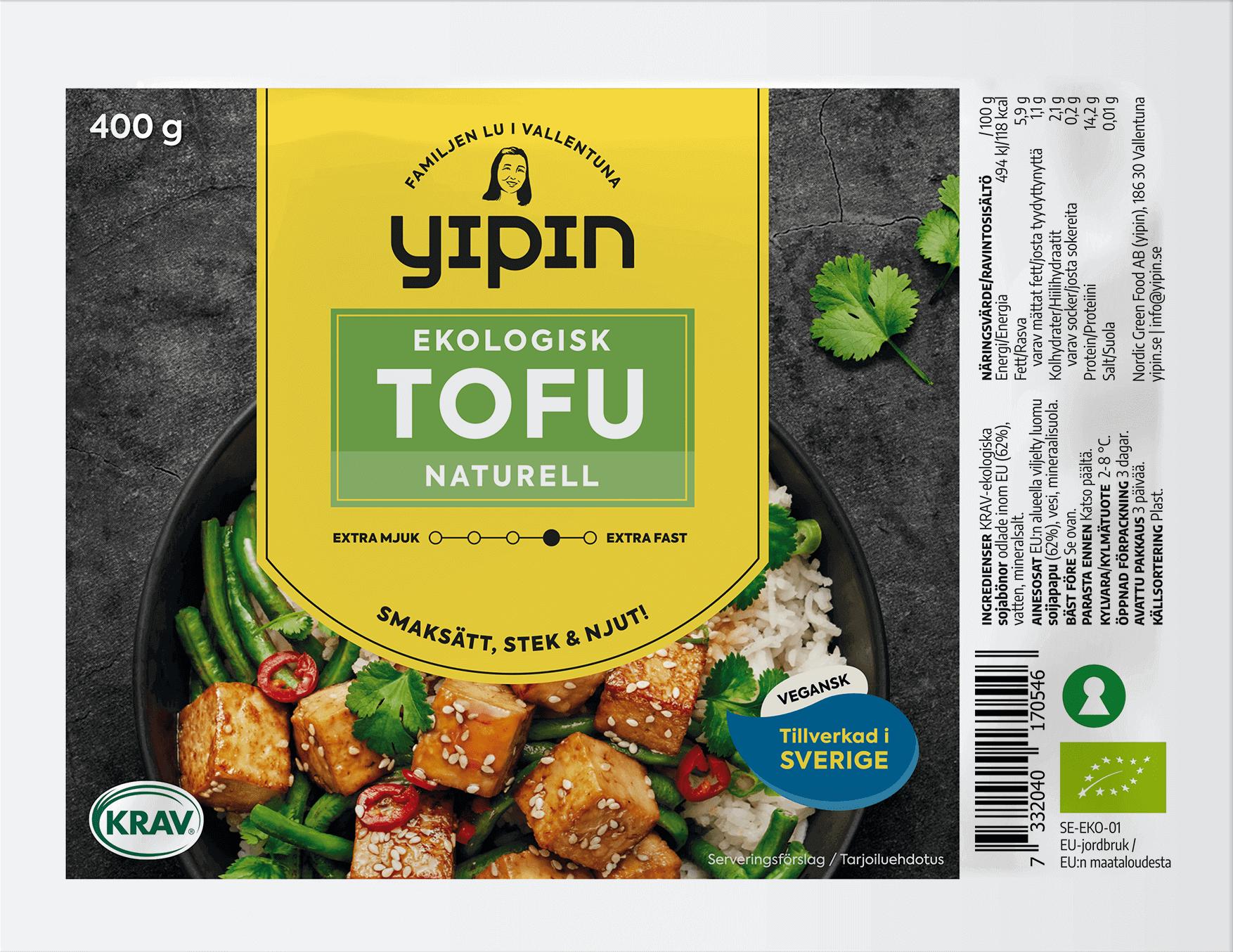 YiPin Tofu Naturell Ekologisk 400g EKO