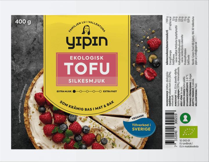 Bilden visar 400 g Yipin Silkesmjuk tofu, en ekologisk silkestofu