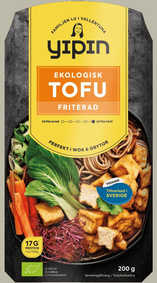 Bilden visar förpackningen till 200 g Yipin friterad tofu ekologisk
