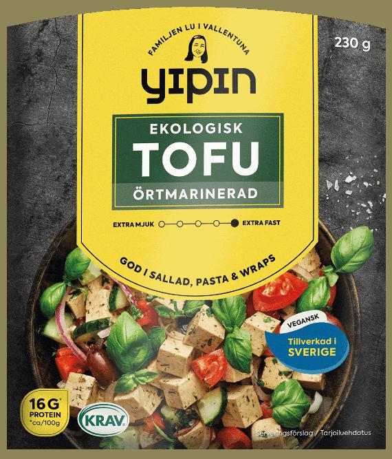 Bilden visar 230g Yipin örtmarinerad tofu, en marinerad tofu. Ekologisk.