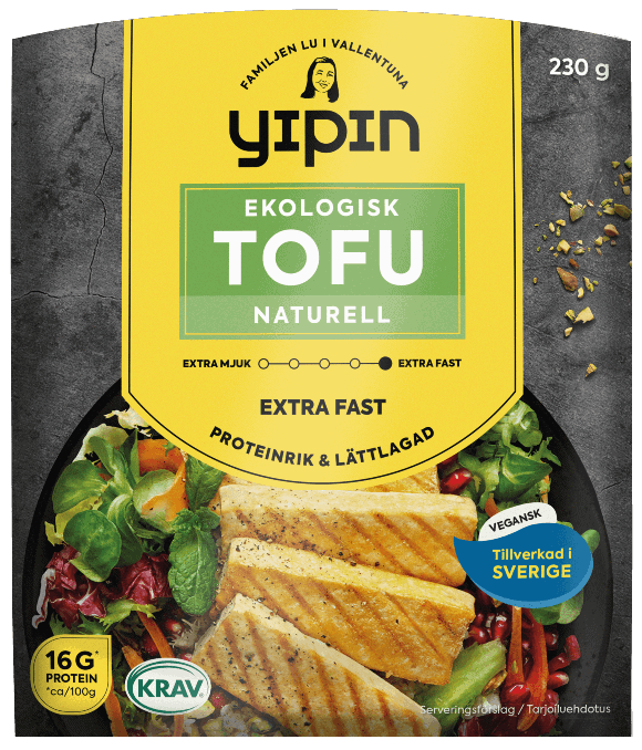 Bilden visar förpackningen till 230 g Yipin extra fast tofu naturell, en ekologisk naturell tofu