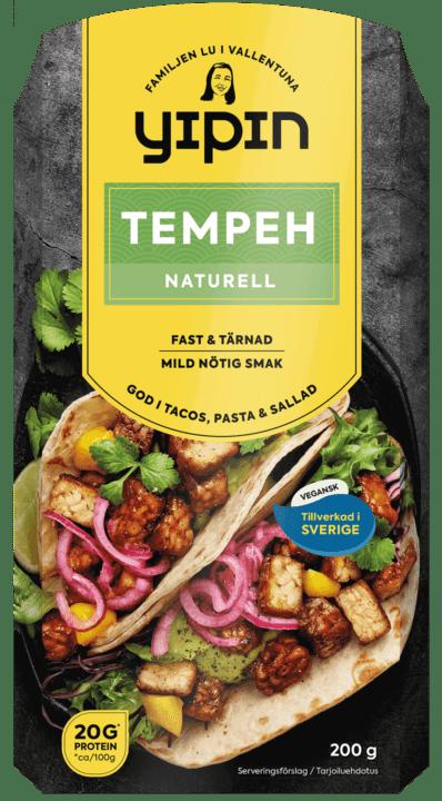 Bilden visar förpackningen till 200 g Yipin tempeh naturell, en svensktillverkad tempeh